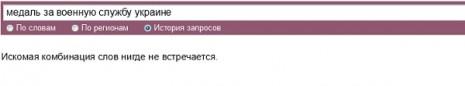 Количество запросов о Медали За военную службу Украине в Яндекс в октябре 2015 года