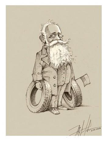 Портрет Михайла Грушевського у виконанні Юрія журавля