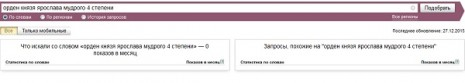 Количество запросов в Яндекс об Ордене Князя Ярослава Мудрого IV степени в ноябре 2015 года