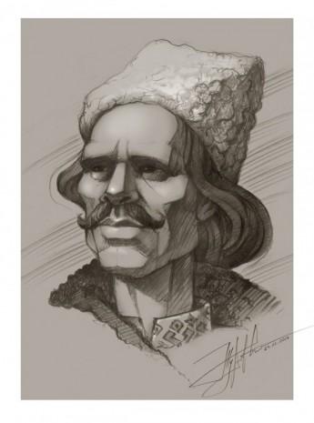 Портрет Нестора Махна у виконанні Юрія Журавля