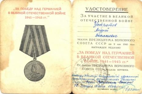 Посвідчення до Медалі За перемогу над Німеччиною у Великій Вітчизняній війні 1941-1945 рр.