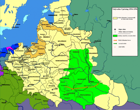 Територія повстання 1594-1596 р.р. в Україні