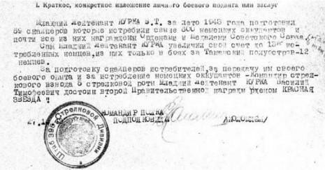 Представлення до нагороди Ордена Червоної Зірки Василя Курки