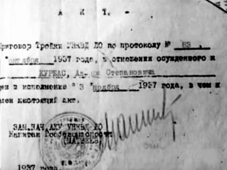 Акт о расстреле Леся Курбаса