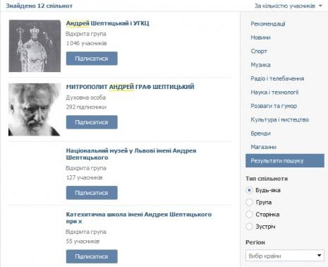 Андрій Шептицький ВКонтакте