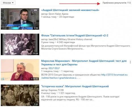 Андрій Шептицький на Youtube