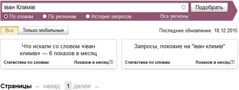 Количество запросов об Иване Климове в Яндекс в ноябре 2015 года