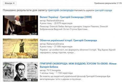 Григорій Сковорода на Youtube