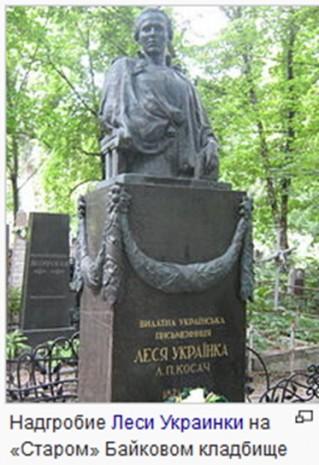 Надгробие на могиле Леси Украинки на Байковом кладбище