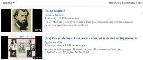 Панас Мирний на Youtube