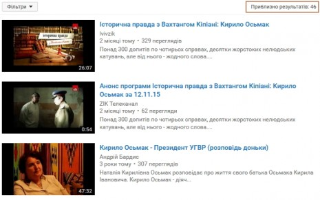 Кирило Осьмак на Youtube
