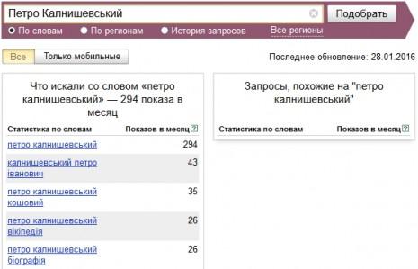 Количество запросов о Петре Колнашевском в Яндекс в декабре 2015 - январе 2016