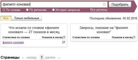 Количество запросов о Филиппе Коновале в Яндекс у январе-феврале 2016 года