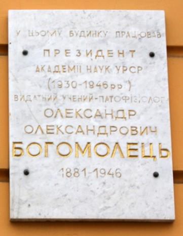 Мемориальная доска на фасаде здания Президиума НАНУ в Киеве