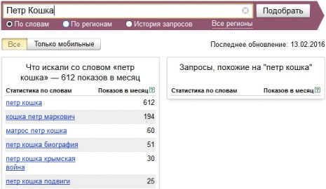 Количество запросов о Петре Кошке в Яндекс в январе-феврале 2016 года