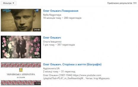 Олег Ольжич на Youtube