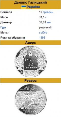 Монета, присв'ячена Данилу Галицькому