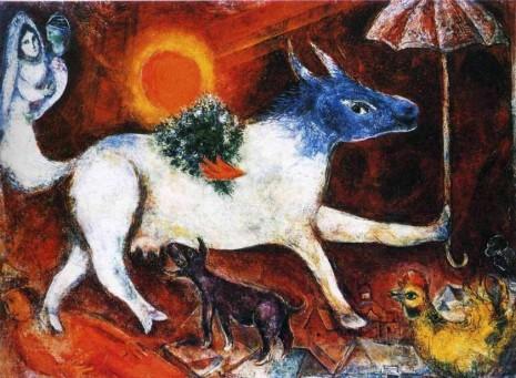 Марк Шагал, Корова с зонтиком, 1944 год