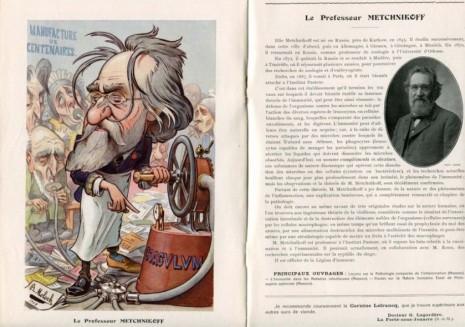 Шарж на Іллю Мечникова у французькому журналі Chanteclair 20, 1908 рік