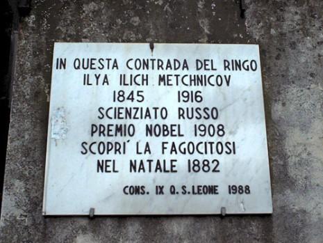 Мемориальная доска в честь Ильи Мечникова на доме в Мессине