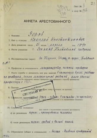 Анкета арестованного Николая Зерова