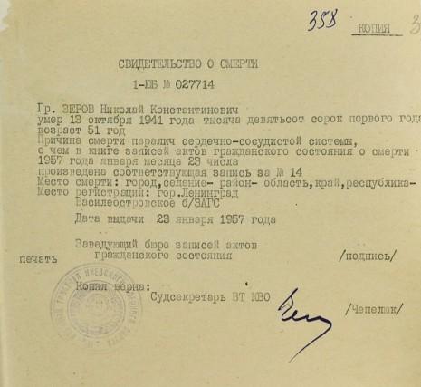Свидетельство о смерти Николая Зерова