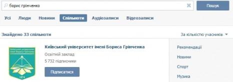 Про Бориса Грінченка ВКонтакті