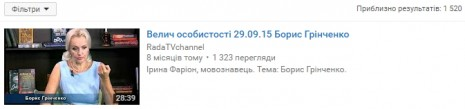 О Борисе Гринченко на Youtube
