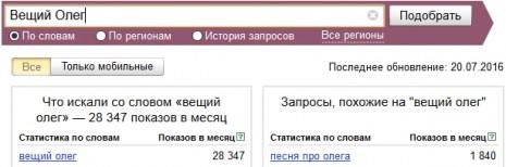 Количество запросов о Вещем Олеге в Яндекс в июне-июле 2016 года