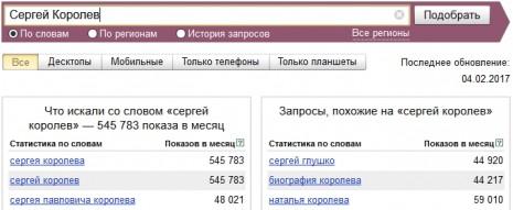 Количество запросов о Сергее Королеве в Яндекс в январе-феврале 2017 года